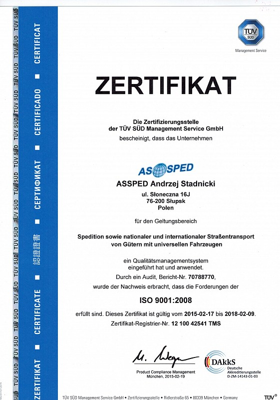 ASSPED INTERNATIONAL TRANSPORT AND SPEDITION